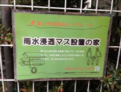 世田谷区の助成制度を受けて個人宅の庭に雨水浸透マスを設定している印。