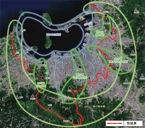 福岡市の緑の状況(出典:福岡市 新・緑の基本計画(平成21年5月))