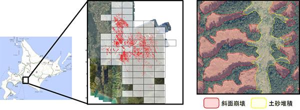 デジタルマッピングした土砂災害の被災地域        部分拡大図